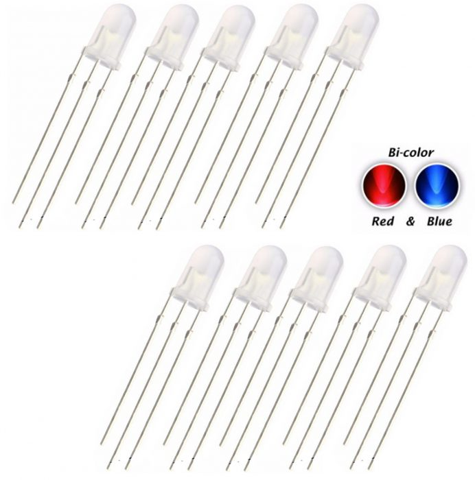 10 x 5mm LED Bi Colour Red /& Blue Diffused Common Cathode 3 pin