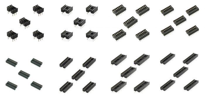 5 x pcb low profile ic socket dil 6 8 14 16 18 20 24 28 pin way 0 3 u0026quot  narrow