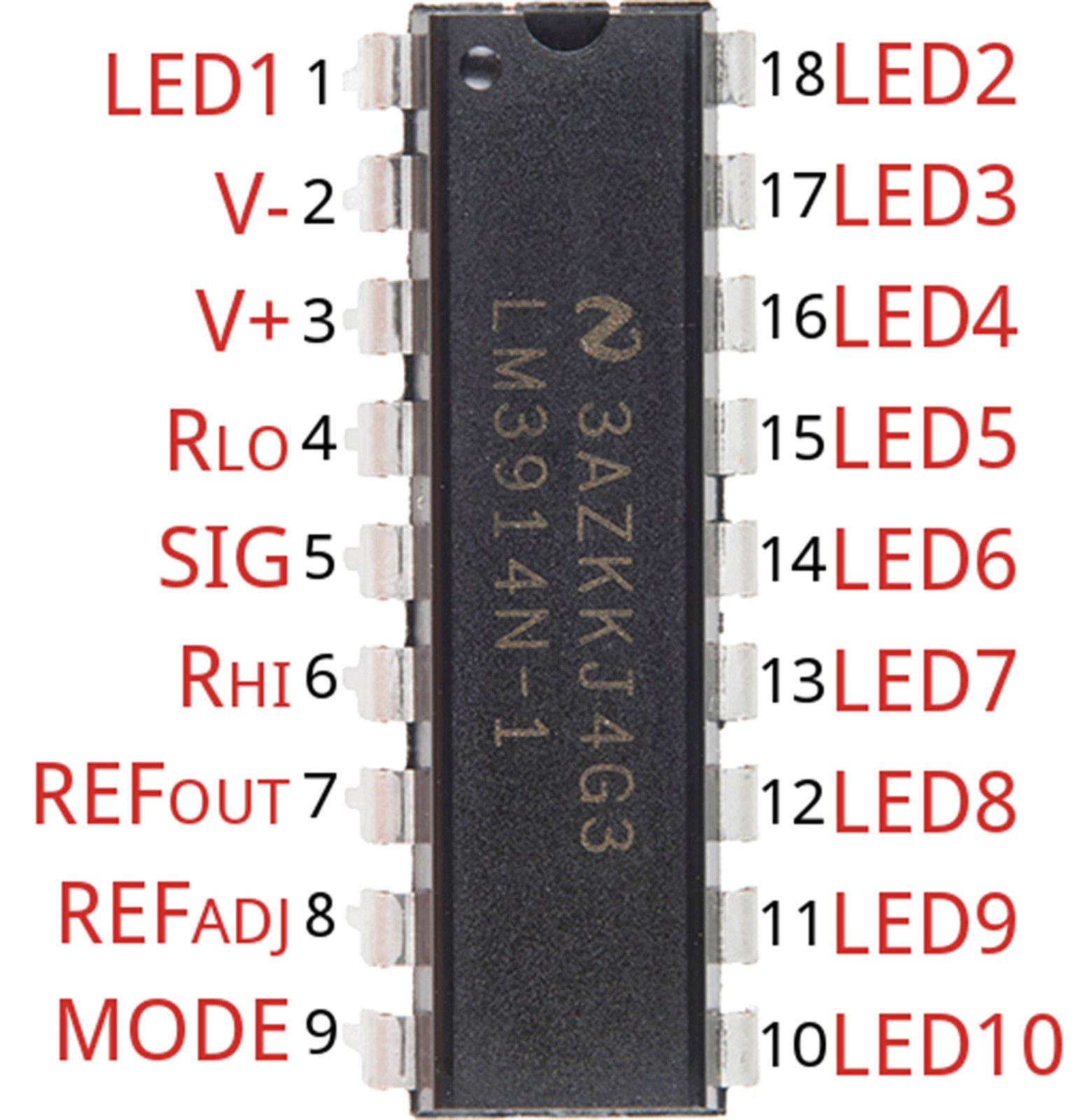 Lm3914 Dot Bar Led Display Driver Dip18 All Top Notch Basic Circuit For